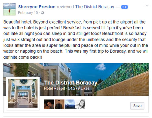 """""""Beautiful hotel. Beyond excellent service"""" Facebook Review"""